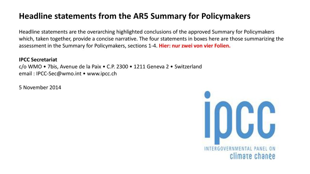 Headline statements from the AR5 Summary for Policymakers