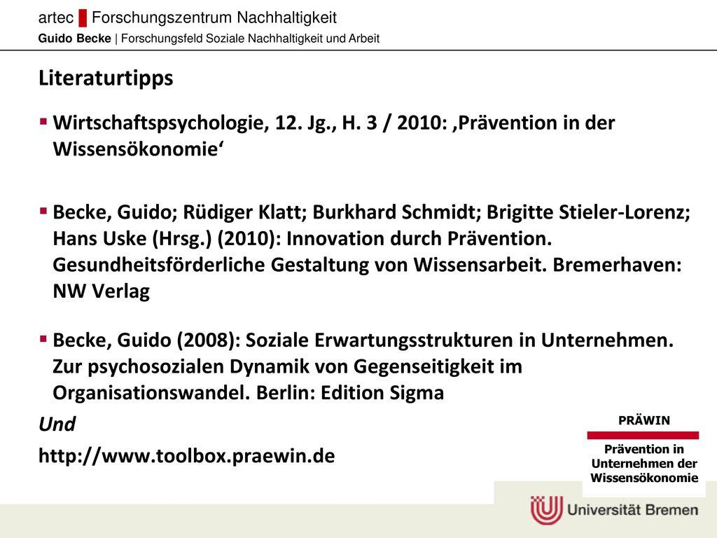 Literaturtipps Wirtschaftspsychologie, 12. Jg., H. 3 / 2010: ,Prävention in der Wissensökonomie'