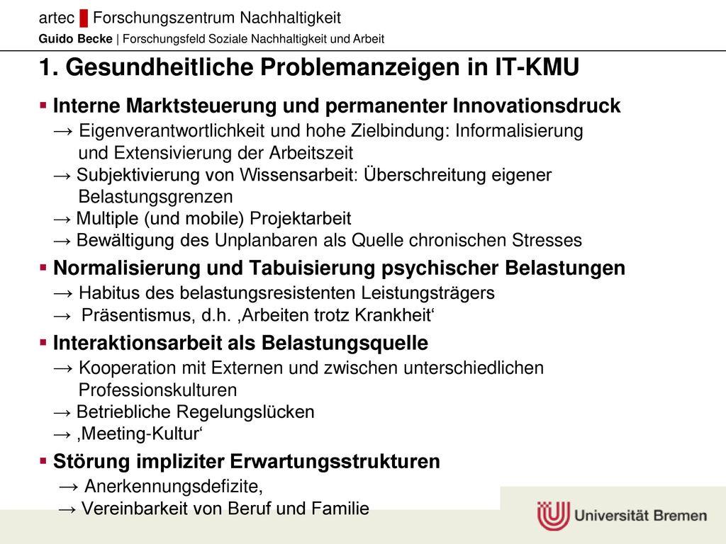 1. Gesundheitliche Problemanzeigen in IT-KMU