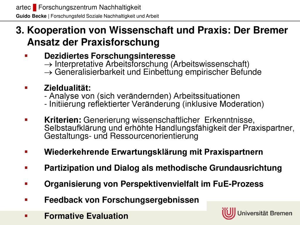 3. Kooperation von Wissenschaft und Praxis: Der Bremer Ansatz der Praxisforschung