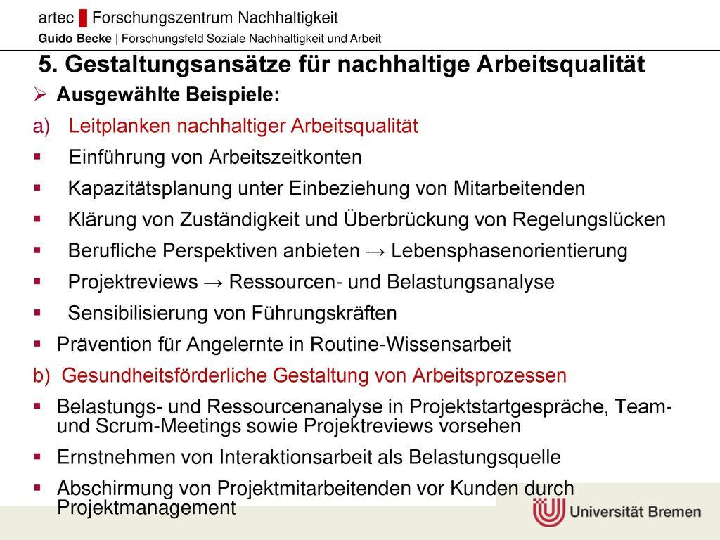5. Gestaltungsansätze für nachhaltige Arbeitsqualität
