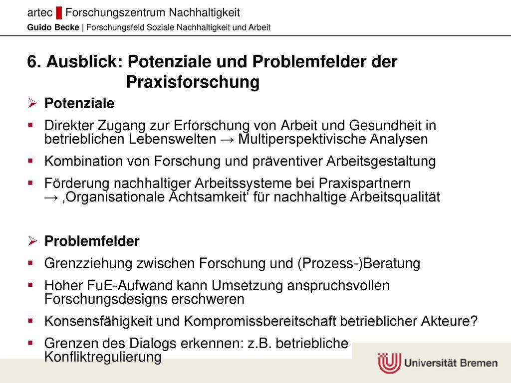 6. Ausblick: Potenziale und Problemfelder der Praxisforschung