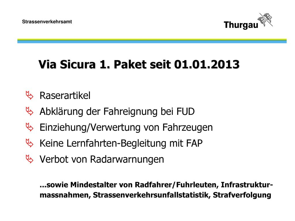 Via Sicura 1. Paket seit 01.01.2013 Raserartikel