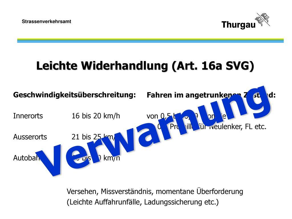 Verwarnung Leichte Widerhandlung (Art. 16a SVG)