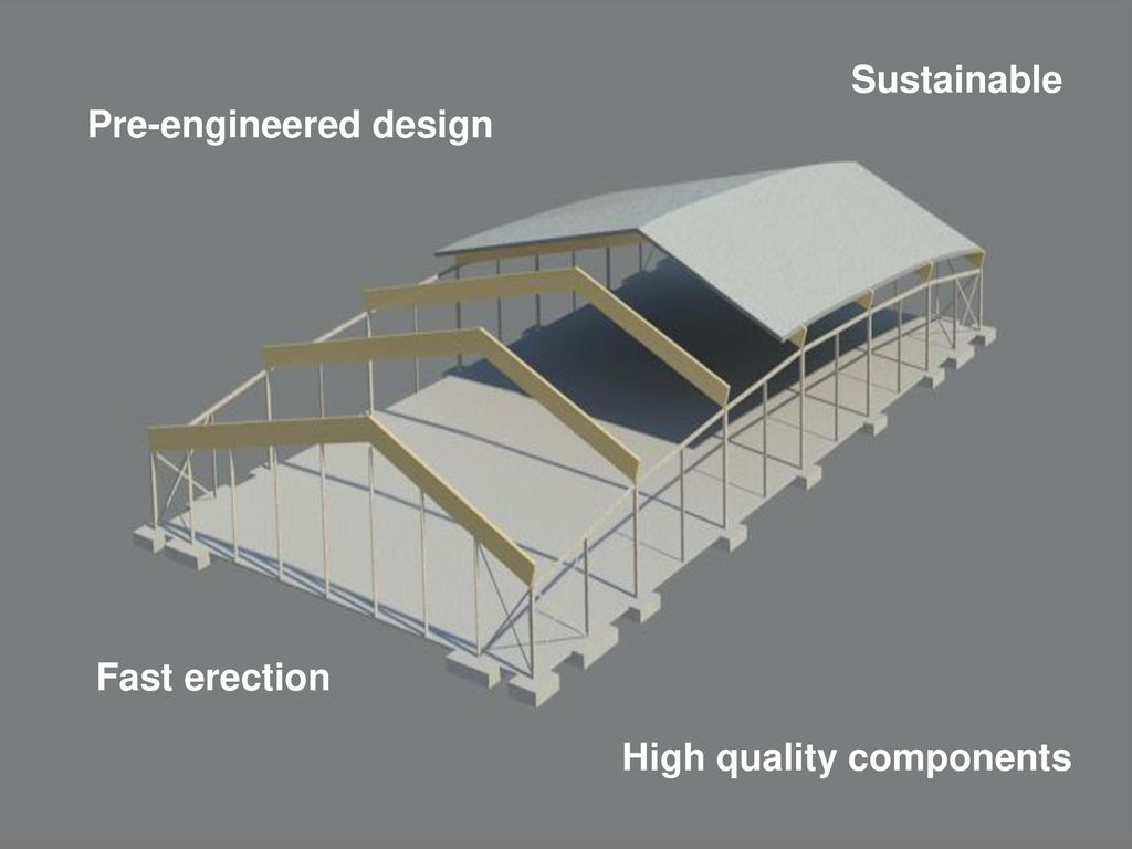 Sustainable Pre-engineered design Fast erection High quality components