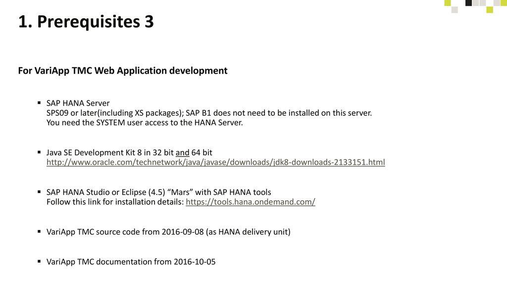 1. Prerequisites 3 For VariApp TMC Web Application development