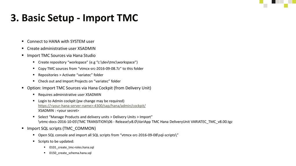 3. Basic Setup - Import TMC