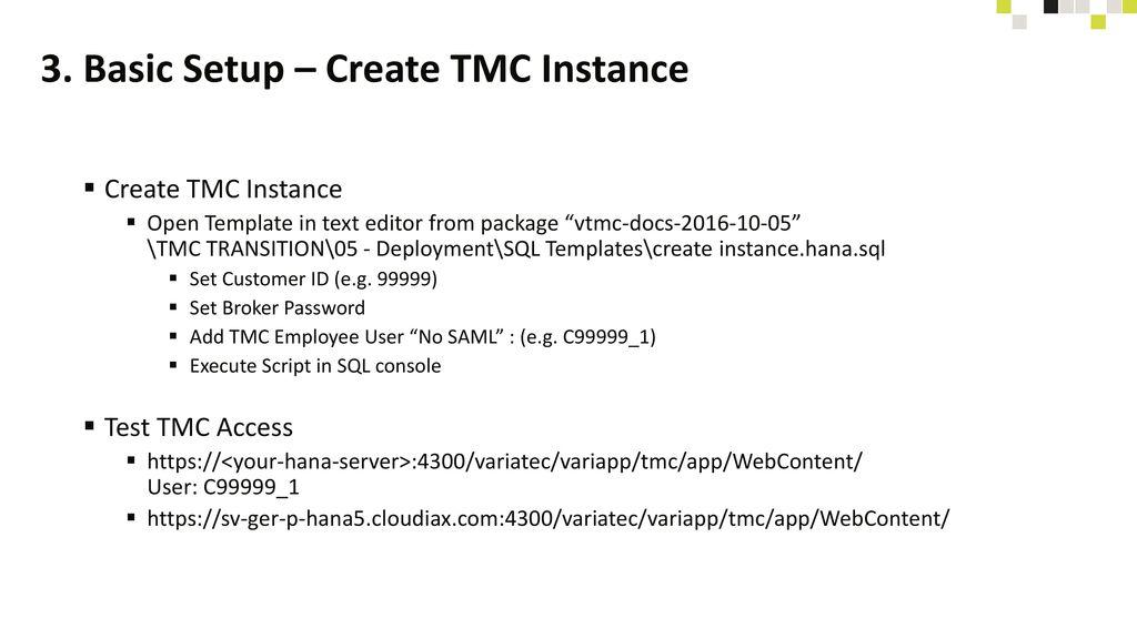 3. Basic Setup – Create TMC Instance