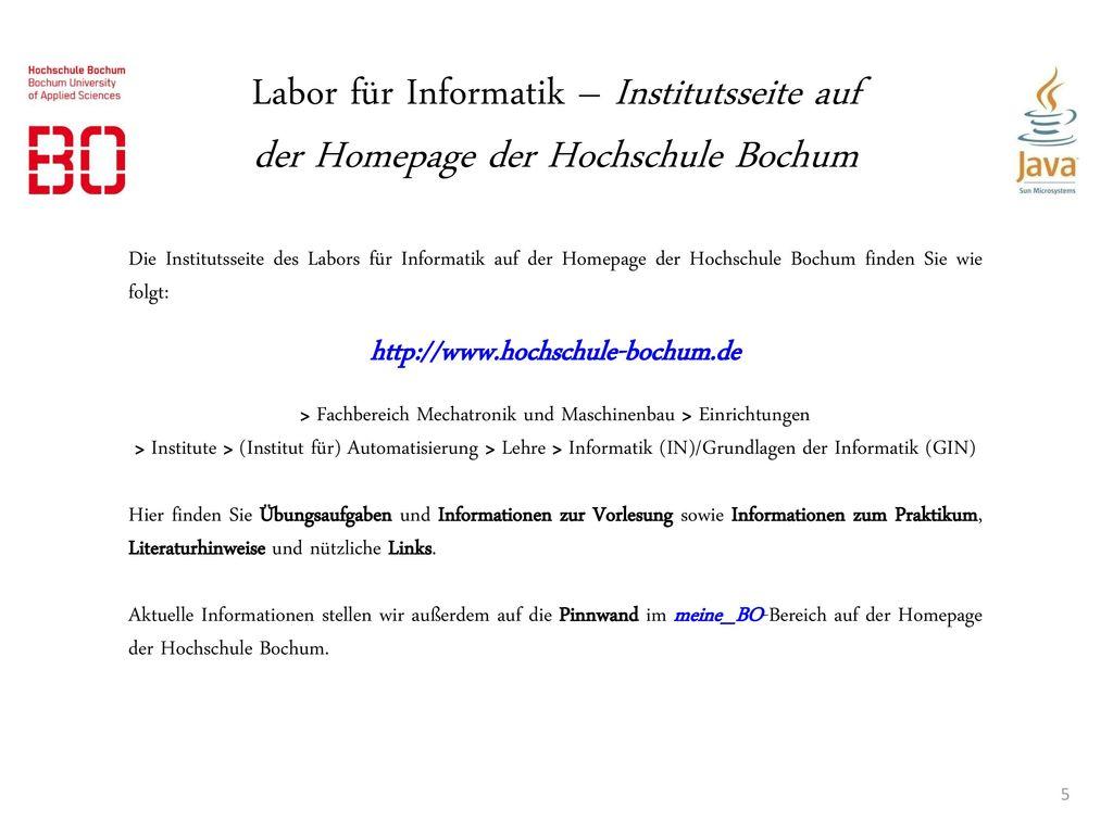 Labor für Informatik – Institutsseite auf