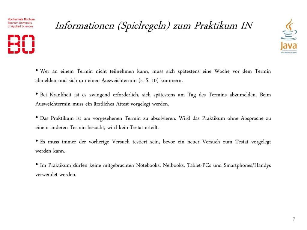 Informationen (Spielregeln) zum Praktikum IN