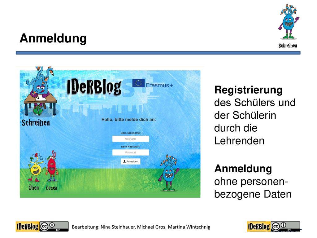 Anmeldung Registrierung des Schülers und der Schülerin durch die Lehrenden Anmeldung ohne personen-bezogene Daten