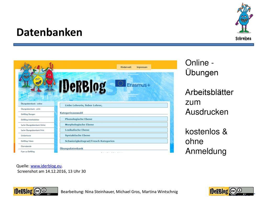 Datenbanken Online - Übungen Arbeitsblätter zum Ausdrucken