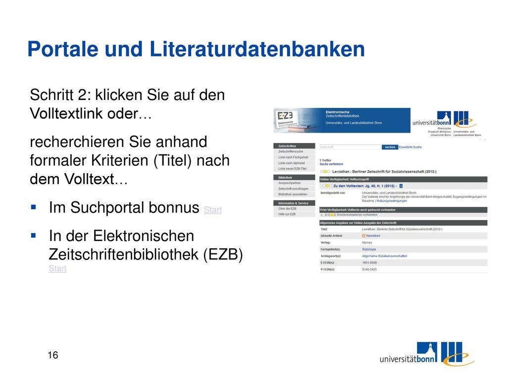 Portale und Literaturdatenbanken