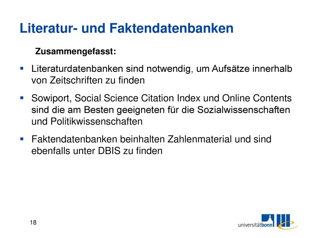 Literatur- und Faktendatenbanken
