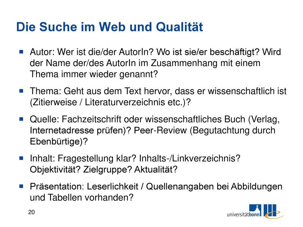 Die Suche im Web und Qualität
