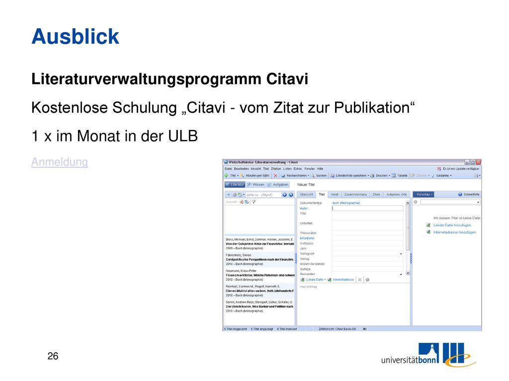 Ausblick Literaturverwaltungsprogramm Citavi