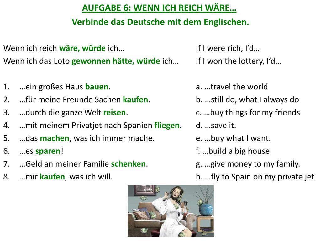 Verbinde das Deutsche mit dem Englischen.