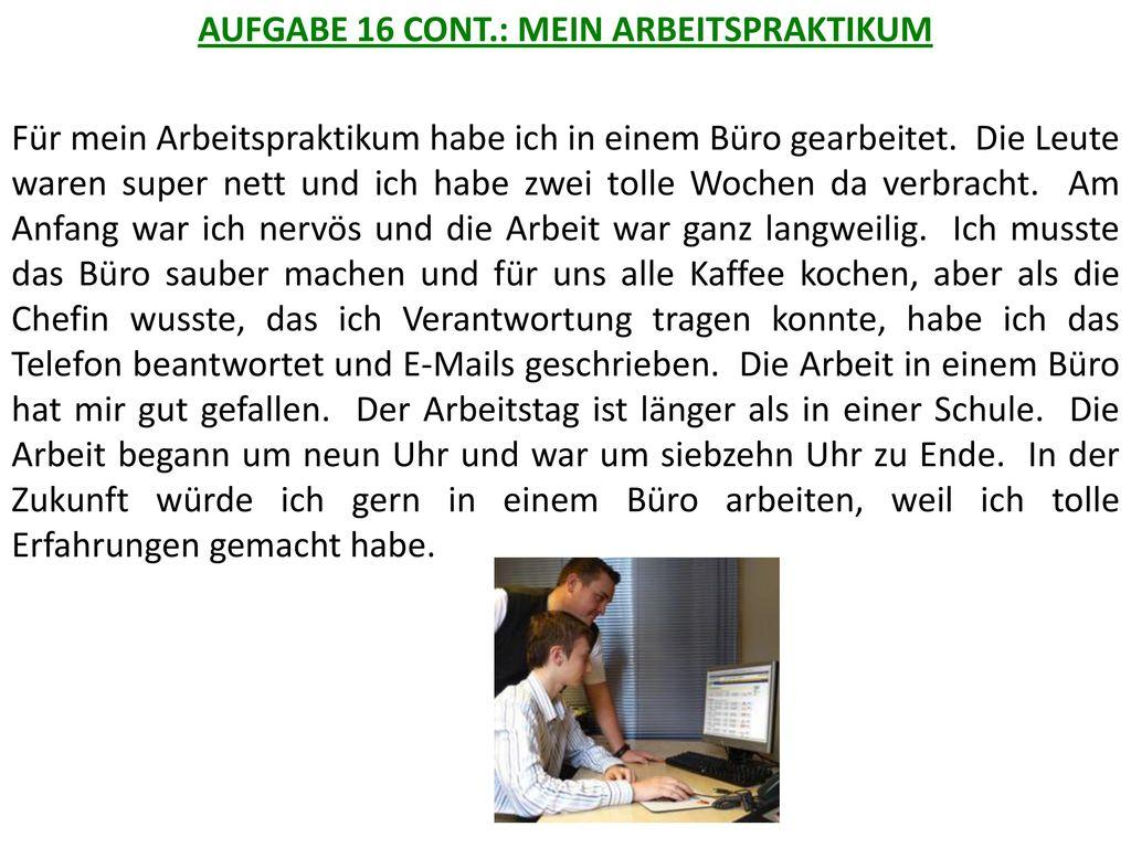 AUFGABE 16 CONT.: MEIN ARBEITSPRAKTIKUM