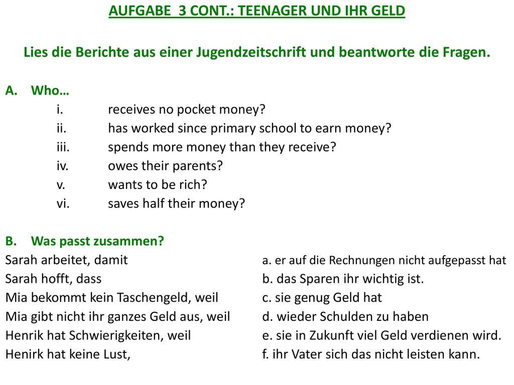 AUFGABE 3 CONT.: TEENAGER UND IHR GELD