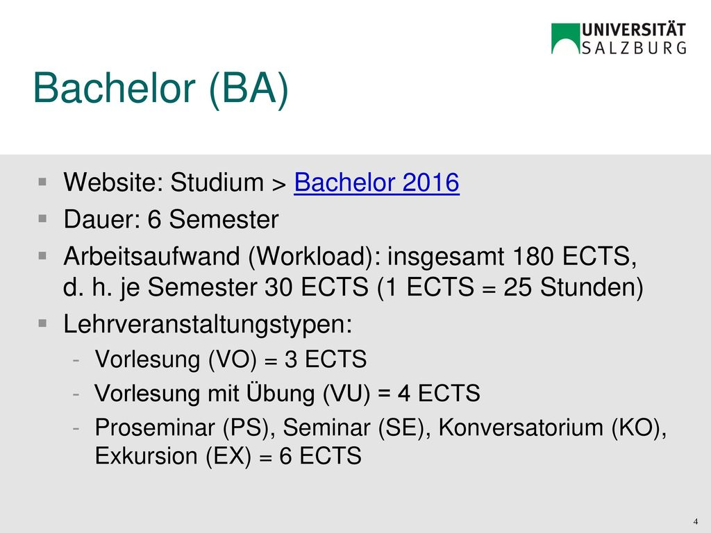 Bachelor (BA) Website: Studium > Bachelor 2016 Dauer: 6 Semester
