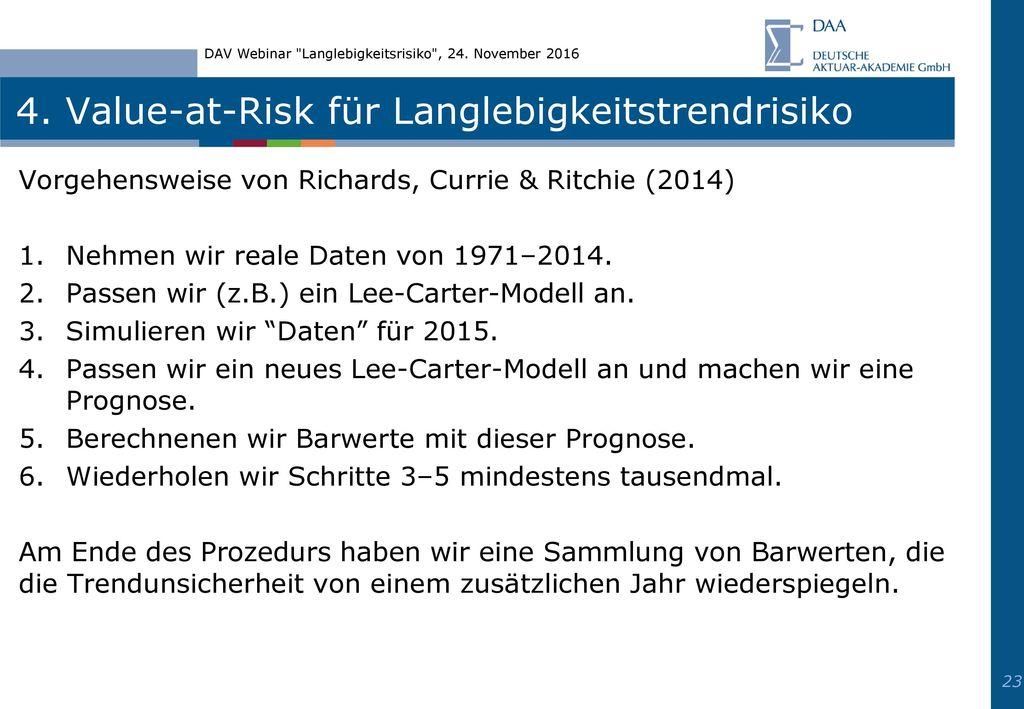 4. Value-at-Risk für Langlebigkeitstrendrisiko