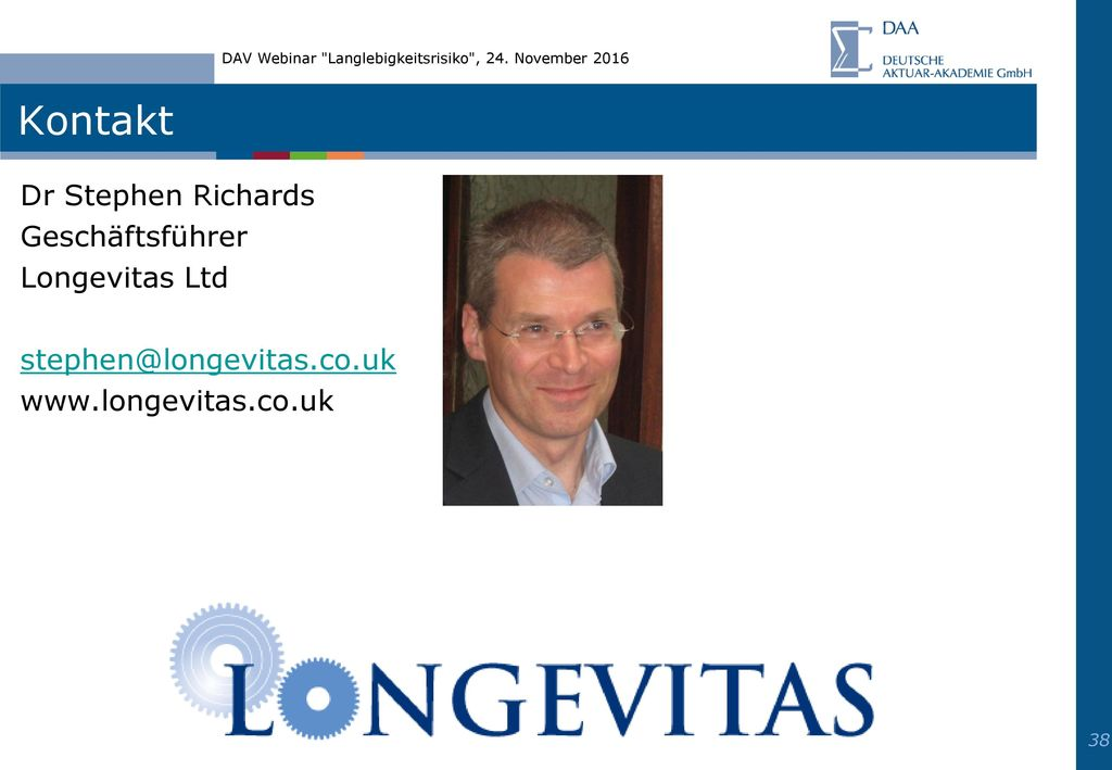 Kontakt Dr Stephen Richards Geschäftsführer Longevitas Ltd