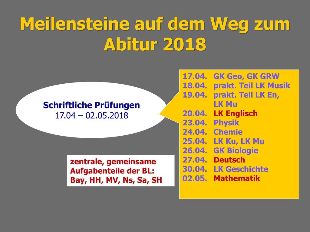 Meilensteine auf dem Weg zum Abitur 2018 Schriftliche Prüfungen