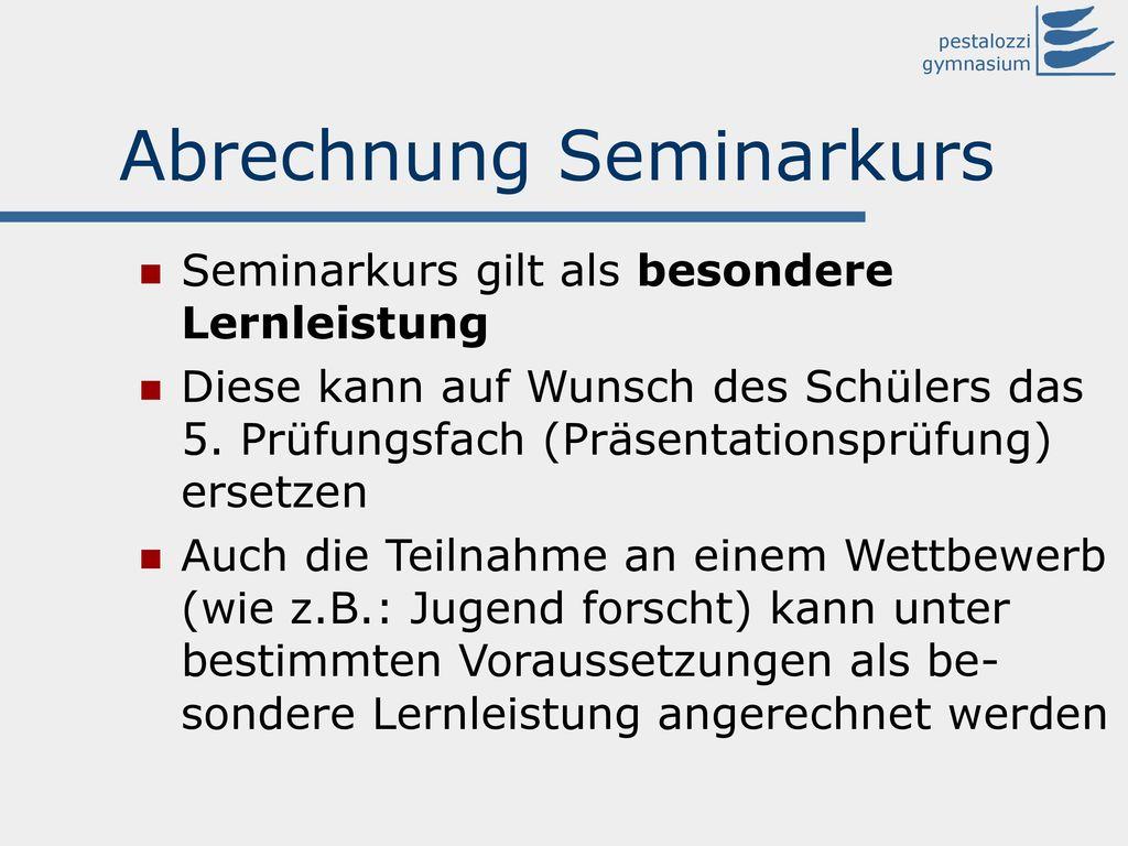 Abrechnung Seminarkurs