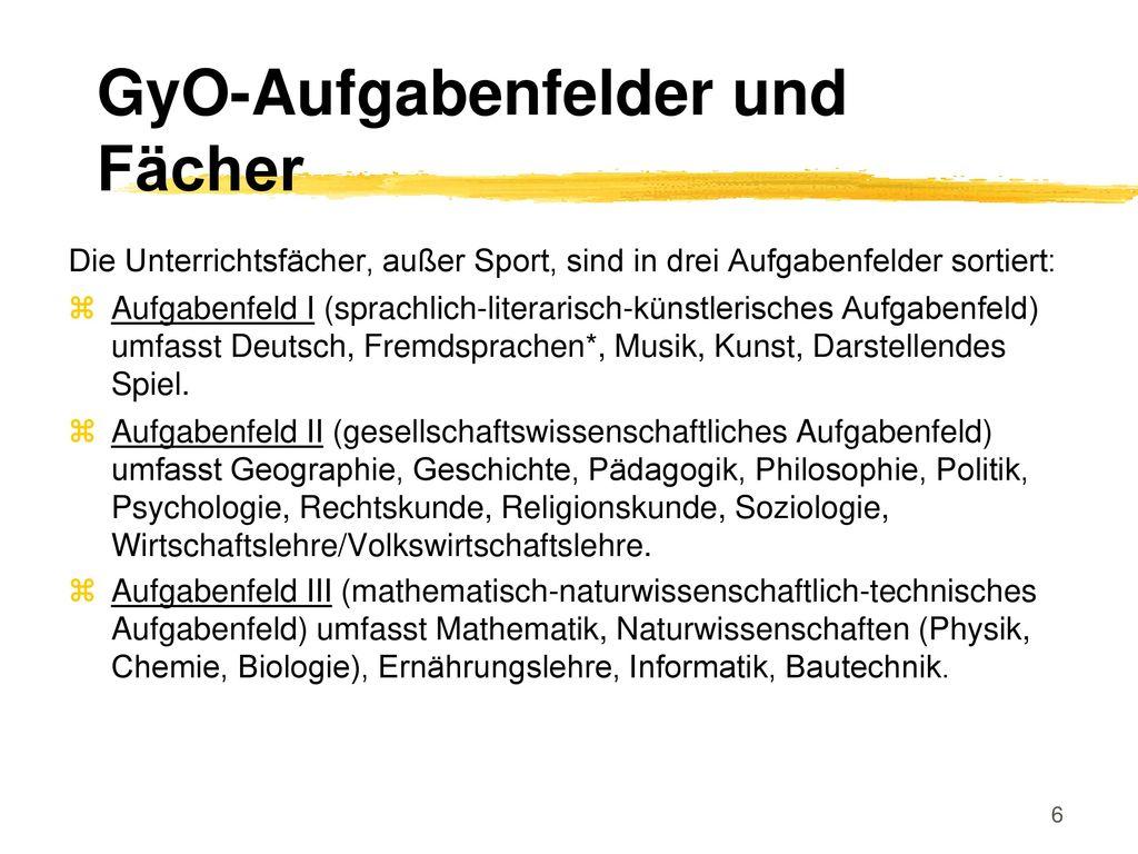 GyO-Aufgabenfelder und Fächer