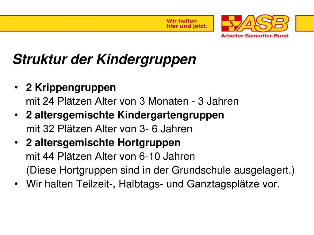 Gründung der Kita : 04.07.1977 Träger der Einrichtung ist seit dem 01.10.2003 der. ASB Arbeiter-Samariter-Bund.