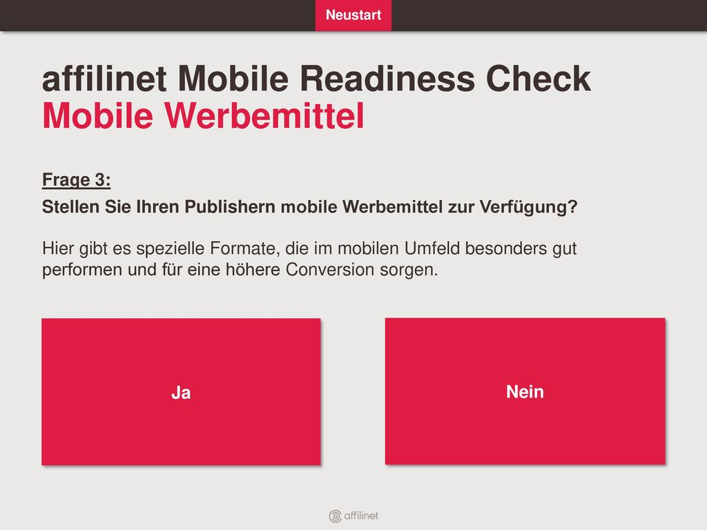 affilinet Mobile Readiness Check Mobile Werbemittel
