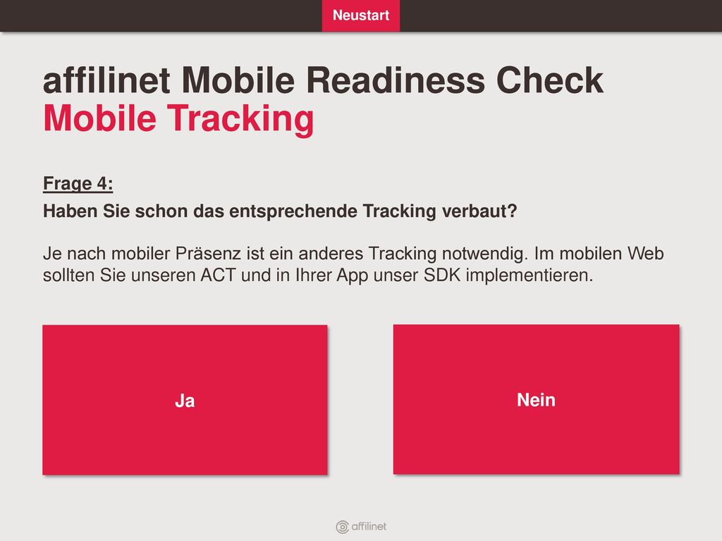 affilinet Mobile Readiness Check Mobile Tracking