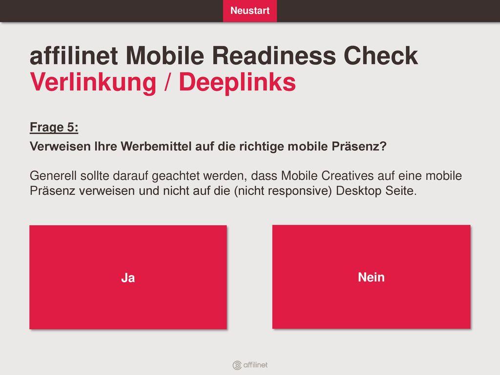 affilinet Mobile Readiness Check Verlinkung / Deeplinks