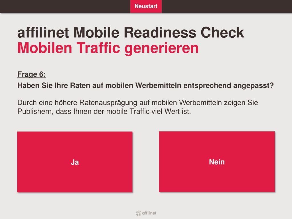 affilinet Mobile Readiness Check Mobilen Traffic generieren