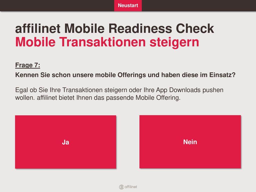 affilinet Mobile Readiness Check Mobile Transaktionen steigern