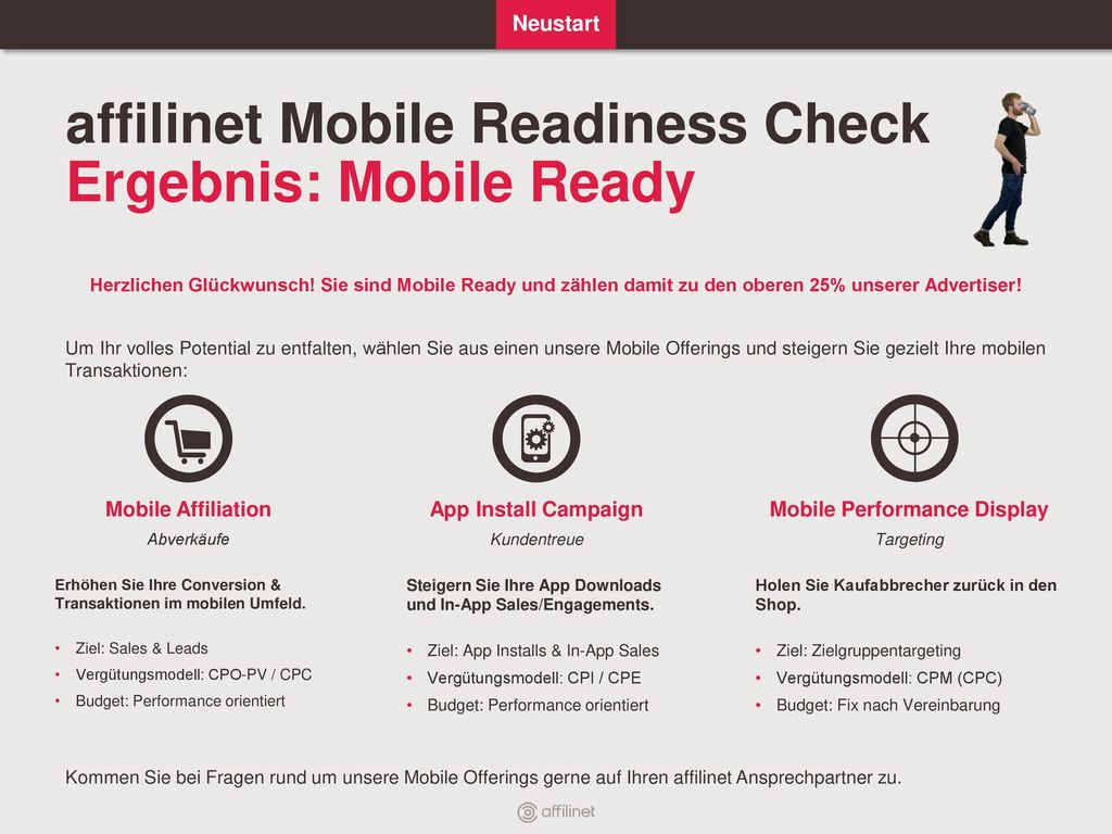 affilinet Mobile Readiness Check Ergebnis: Mobile Ready