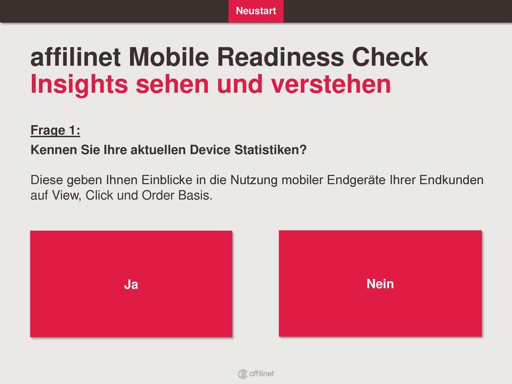 affilinet Mobile Readiness Check Insights sehen und verstehen