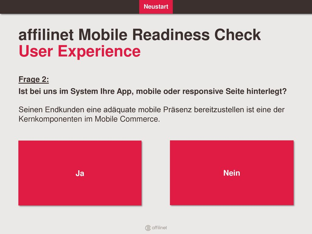 affilinet Mobile Readiness Check User Experience