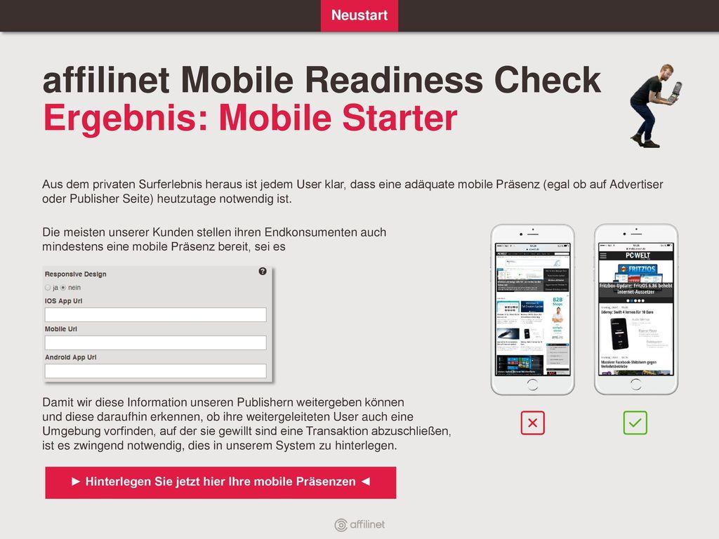 affilinet Mobile Readiness Check Ergebnis: Mobile Starter