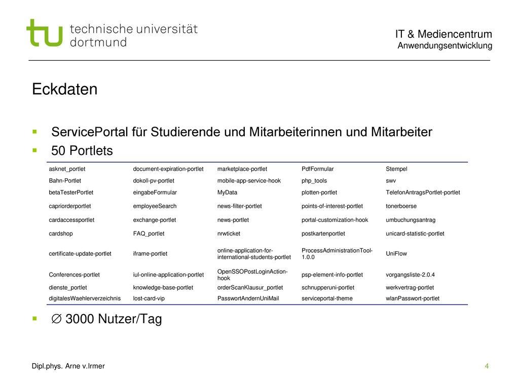 Eckdaten ServicePortal für Studierende und Mitarbeiterinnen und Mitarbeiter. 50 Portlets.  3000 Nutzer/Tag.