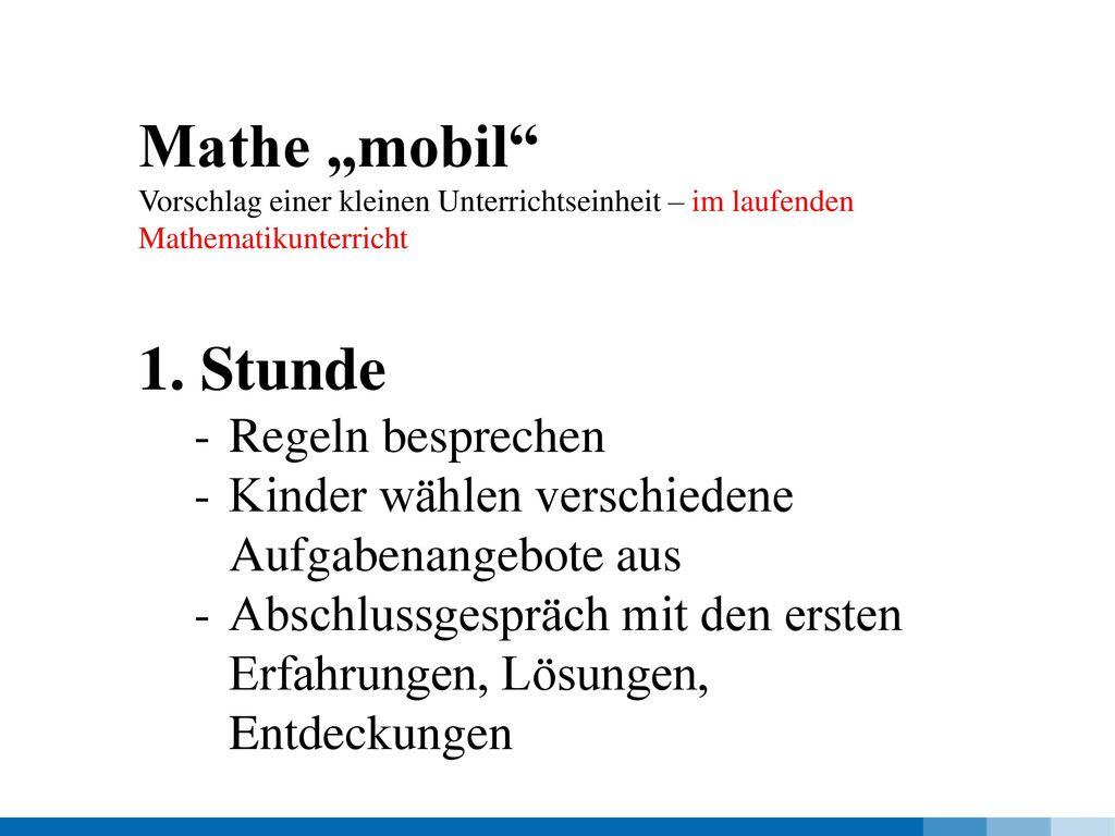 """Mathe """"mobil Stunde Regeln besprechen"""