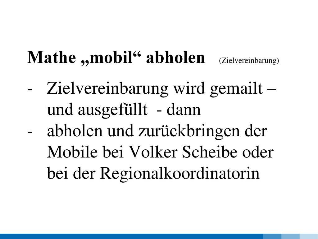 """Mathe """"mobil abholen (Zielvereinbarung)"""