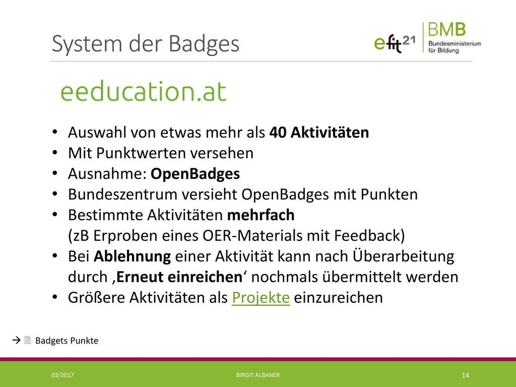 System der Badges Auswahl von etwas mehr als 40 Aktivitäten