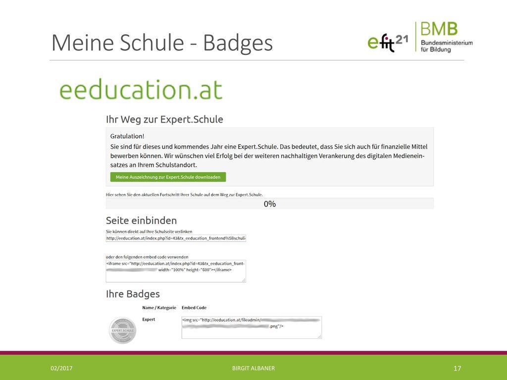 Meine Schule - Badges 02/2017 Birgit Albaner