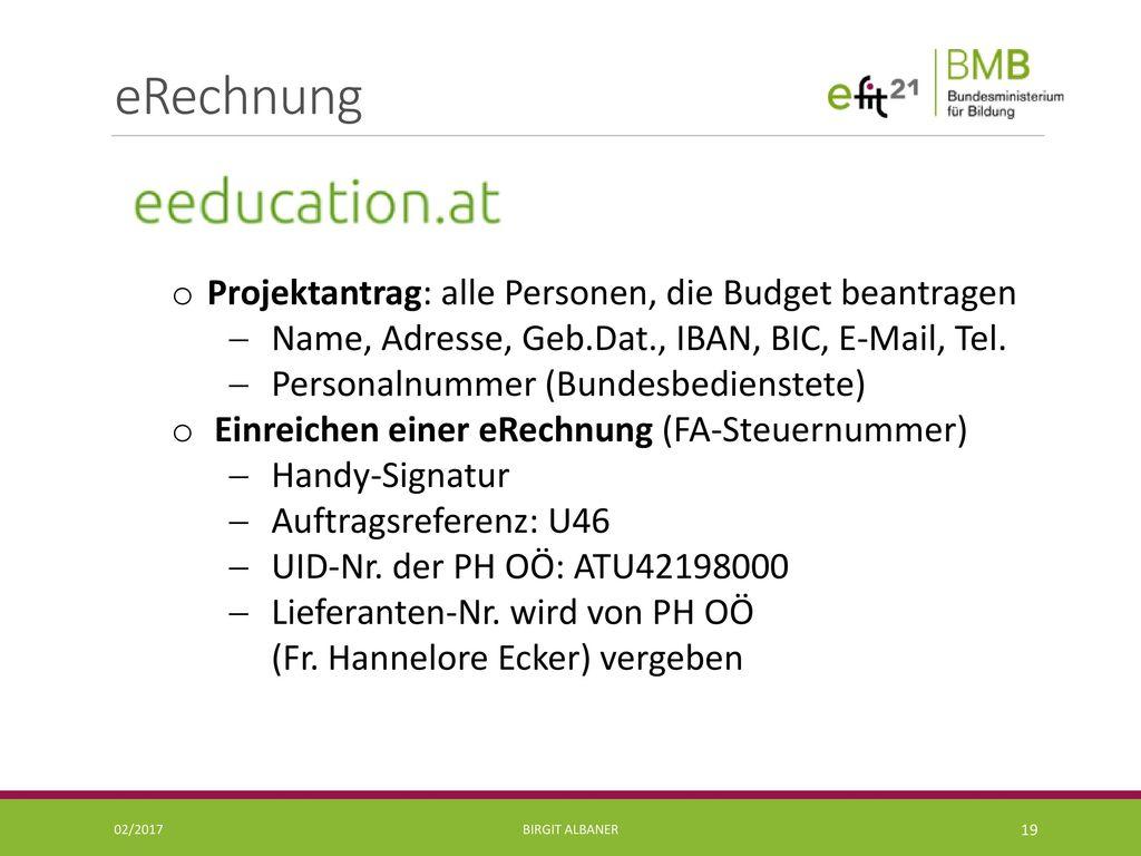 eRechnung Projektantrag: alle Personen, die Budget beantragen