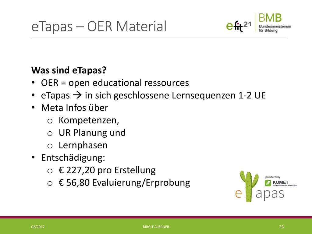 eTapas – OER Material Was sind eTapas