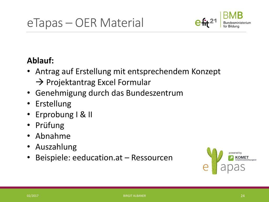 eTapas – OER Material Ablauf: