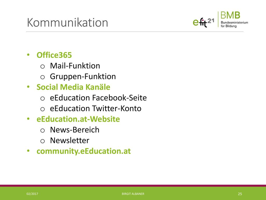 Kommunikation Office365 Mail-Funktion Gruppen-Funktion