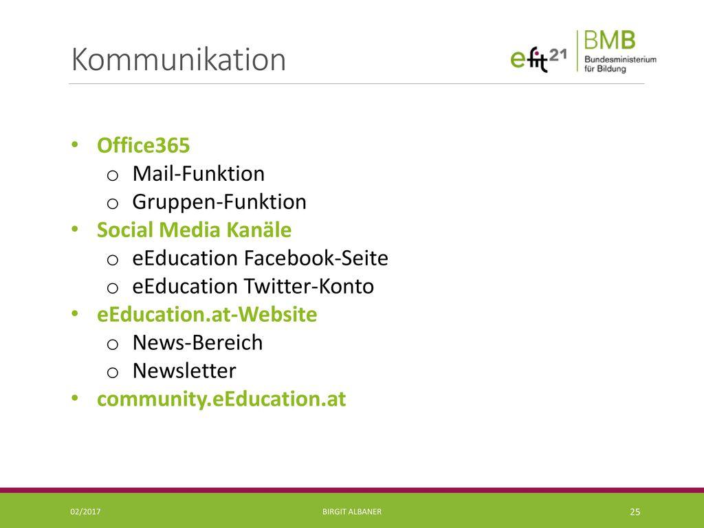 Kommunikation Office365 Mail-Funktion Gruppen-Funktion