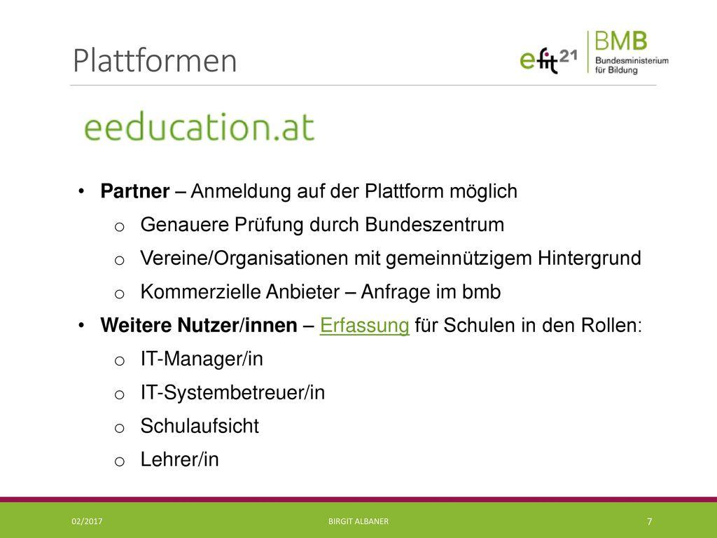 Plattformen Partner – Anmeldung auf der Plattform möglich
